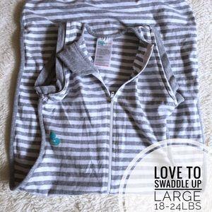 Love to Swaddle Up - grey & White LARGE swaddle
